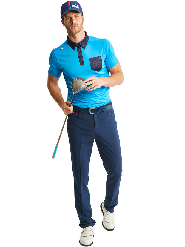 Bunker Mentality State Ombre Blue and Paisley Mens Golf Polo Shirt with Navy Trousers