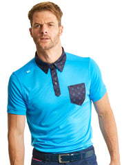 Bunker Mentality State Ombre Blue Mens Golf Polo Shirt with Paisley Pocket - Model