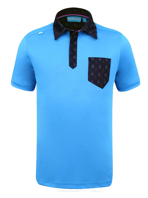 Bunker Mentality State Ombre Blue Mens Golf Polo Shirt with Paisley Pocket - Front