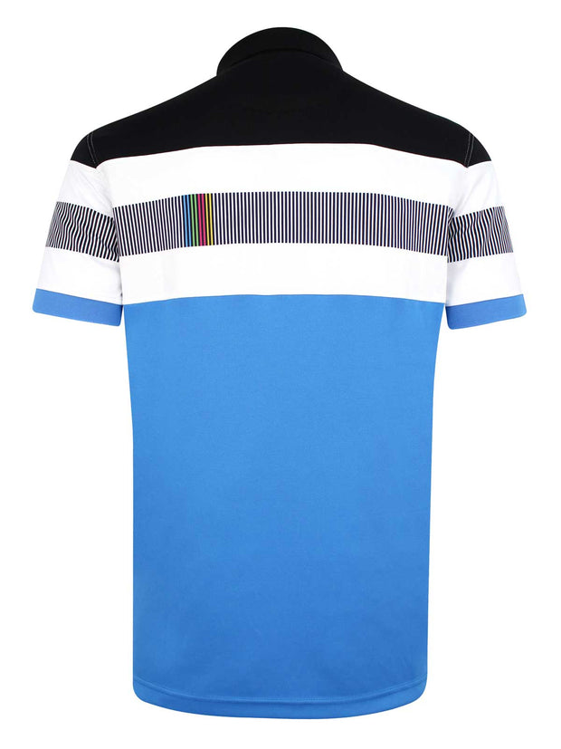 Bunker Mentality Switch Blue Stripe Mens Golf Shirt. Solid Blue Bottom half with White and Black Stripes at top - Back