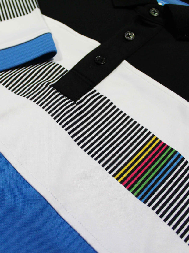 Bunker Mentality Switch Blue Stripe Mens Golf Shirt. Solid Blue Bottom half with White and Black Stripes at top - Close Up