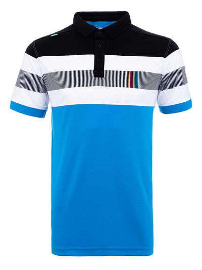 Bunker Mentality Switch Blue Stripe Mens Golf Shirt. Solid Blue Bottom half with White and Black Stripes at top - Front
