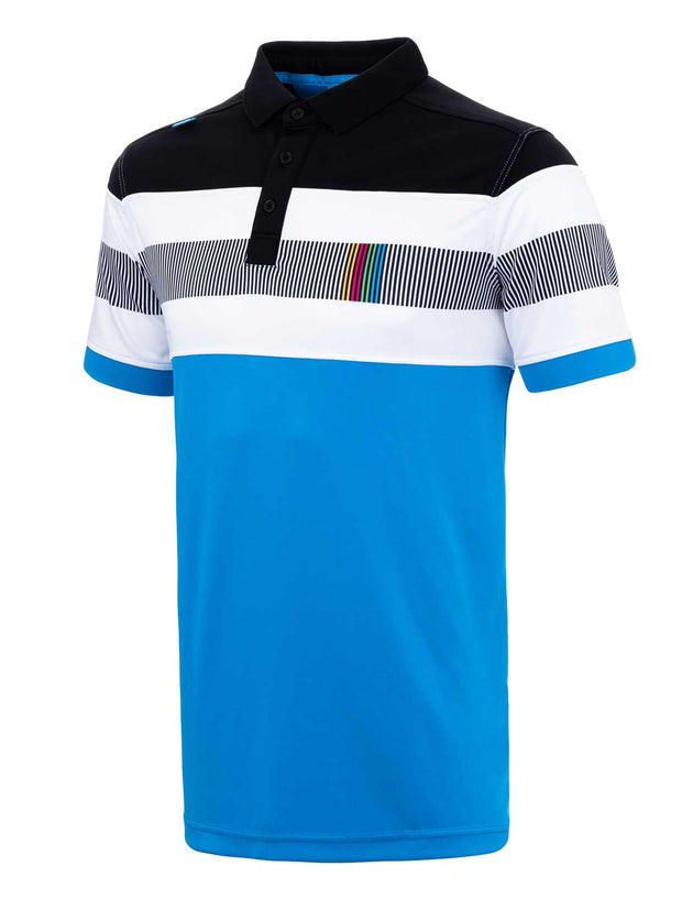 Bunker Mentality Switch Blue Stripe Mens Golf Shirt. Solid Blue Bottom half with White and Black Stripes at top - Side