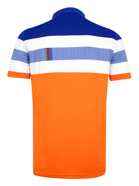 Bunker Mentality Switch Orange Stripe Mens Golf Shirt. Solid Orange Bottom half with White and Blue Stripes at top - Back
