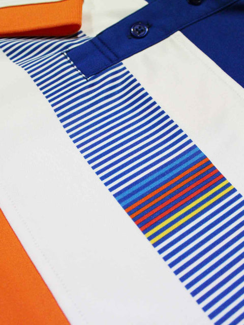 Bunker Mentality Switch Orange Stripe Mens Golf Shirt. Solid Orange with White and Blue Stripes - Close Up