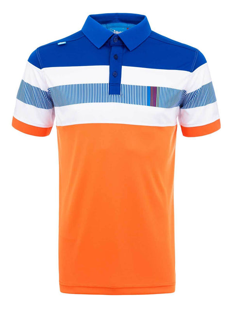 Bunker Mentality Switch Orange Stripe Mens Golf Shirt. Solid Orange Bottom half with White and Blue Stripes at top - Front