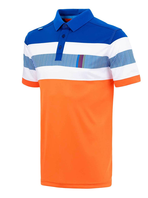 Bunker Mentality Switch Orange Stripe Mens Golf Shirt. Solid Orange Bottom half with White and Blue Stripes at top - Side