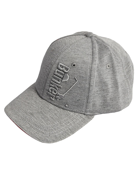 Bunker Mentality Grey Tonal Logo Golf Cap Snapback Fastening Red Piping Top