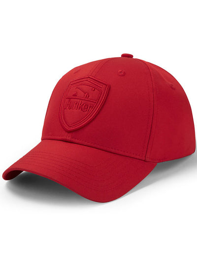 Bunker Mentality Tonal Red Mens Golf Cap with Bunker Shield On Front - Front