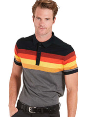 Bunker Mentality Black Grey Mens Cotton Golf Shirt with orange and yellow stripes - Model
