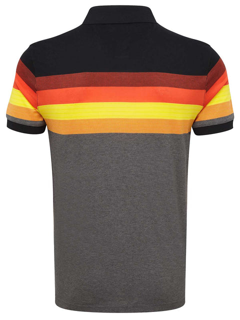 Bunker Mentality Black Grey Mens Cotton Golf Shirt with orange and yellow stripes - Back