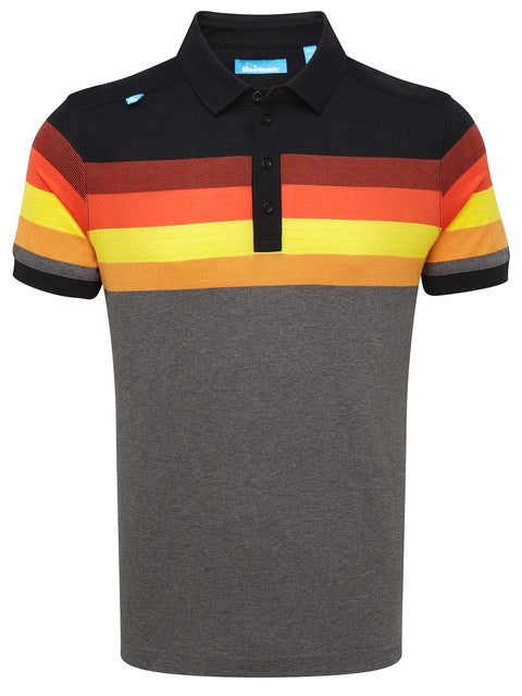 Bunker Mentality Black Grey Mens Cotton Golf Shirt with orange and yellow stripes - Front