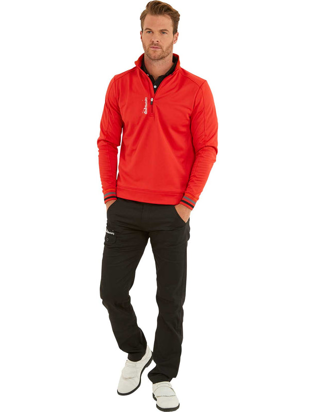 Bunker Mentality Red Quarter Zip Thermal Mens Golf Mid Layer with Tri Colour Neck and Cuffs - Model wearing Black Golf Trousers