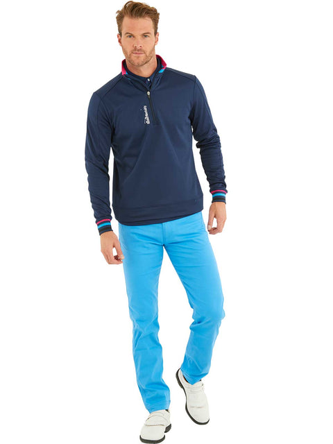 Bunker Mentality Navy Quarter Zip Thermal Mens Golf Mid Layer with Tri Colour Neck and Cuffs - wearing Blue Golf Trousers
