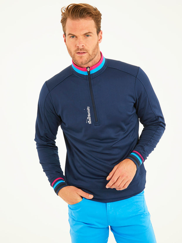 Bunker Mentality Navy Quarter Zip Thermal Mens Golf Mid Layer with Tri Colour Neck and Cuffs - Model