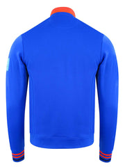 Bunker Mentality Blue Quarter Zip Golf Mid Layer Sweater with Orange and Red tipping on neck and cuff - Back