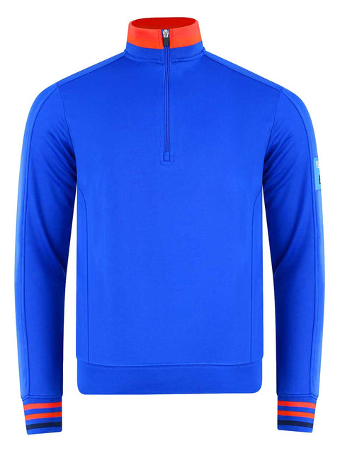 Bunker Mentality Blue Quarter Zip Golf Mid Layer Sweater with Orange and Red tipping on neck and cuff - Front