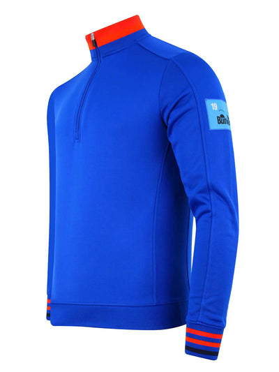 Bunker Mentality Blue Quarter Zip Golf Mid Layer Sweater with Orange and Red tipping on neck and cuff - Side