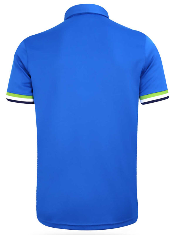 Bunker Mentality Blue Mens Golf Shirt with tri colour tipping to placket and cuffs - Back