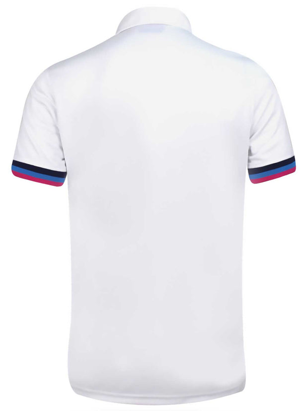 Bunker Mentality White Mens Golf Shirt with tri colour tipping to placket and cuffs - Back