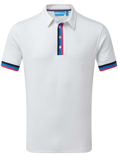 Cmax Tri Stripe Golf Polo Shirt - White