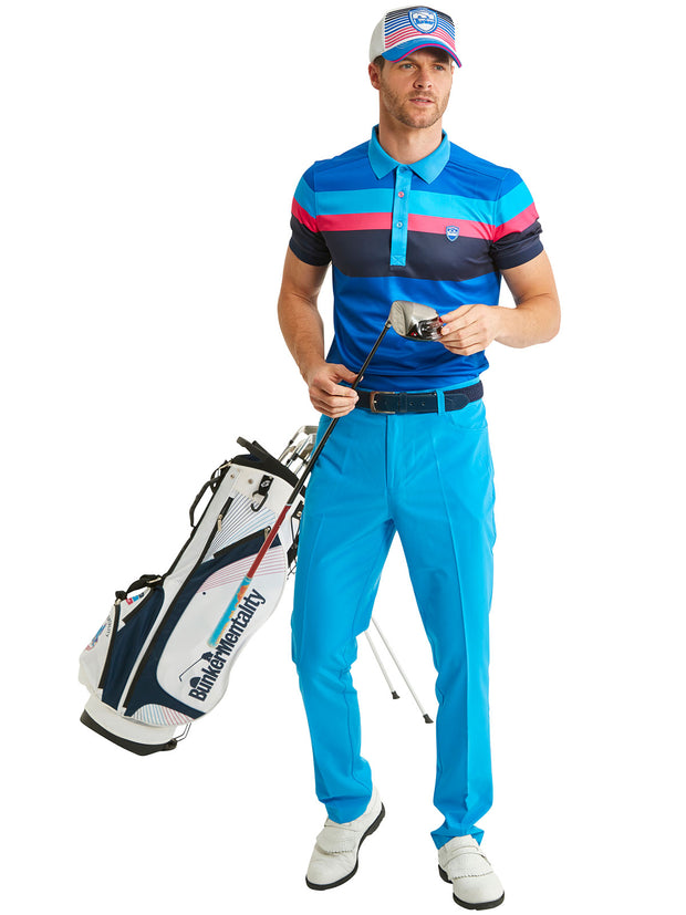 Bunker Mentality Tri Tech Blue Stripe Mens Golf Polo Shirt with Blue Golf Trousers