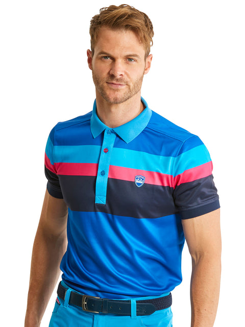 Bunker Mentality Tri Tech Blue Stripe Mens Golf Polo Shirt - Model