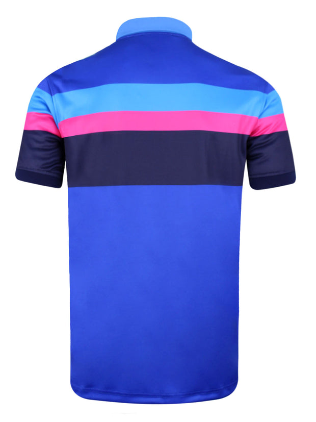 Bunker Mentality Tri Tech Blue Stripe Mens Golf Polo Shirt - Back