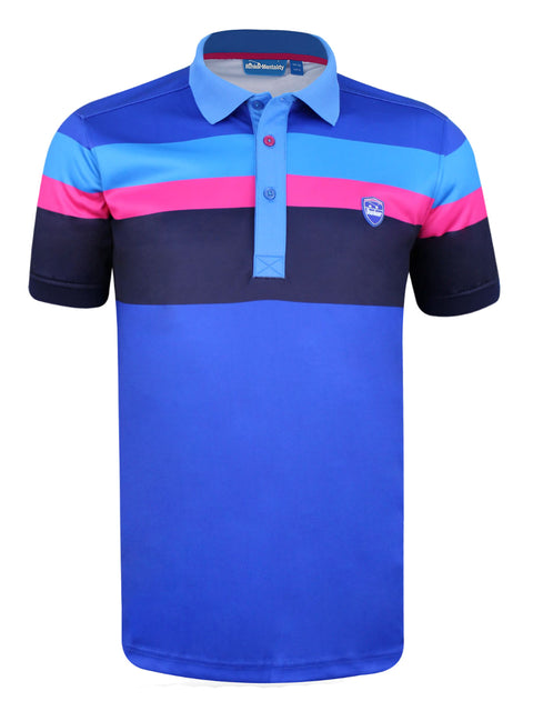 Bunker Mentality Tri Tech Blue Stripe Mens Golf Polo Shirt - Front