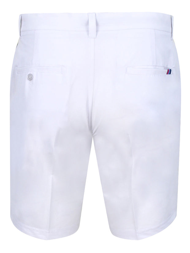 Bunker Mentality White Mens Golf Shorts with Signature taped pocket - Back