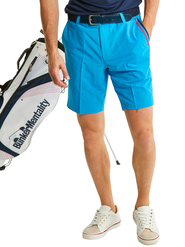Bunker Mentality Blue Mens Golf Shorts with Signature taped pocket - Model