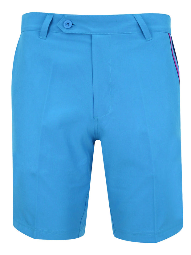 Bunker Mentality Blue Mens Golf Shorts with Signature taped pocket - Front