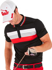 Cmax Triple Stripe Tech Golf Polo Shirt - Black