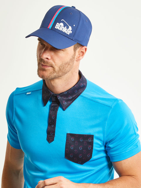 Bunker Mentality Navy Vertical Triple Stripe Tape Golf Snapback Peaked Cap with Branding Model Side