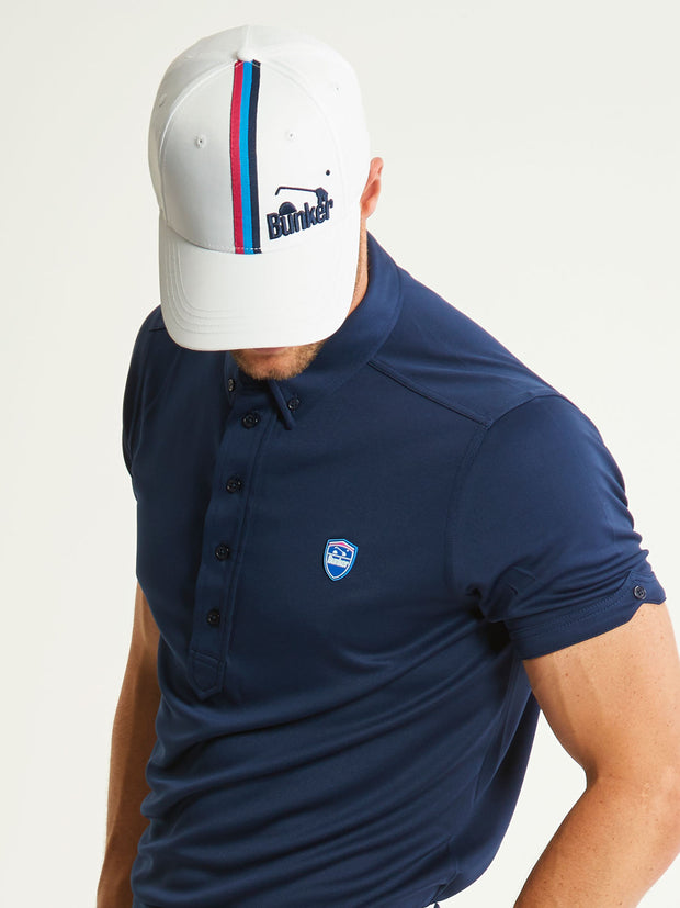 Bunker Mentality White Vertical Triple Stripe Tape Golf Snapback Peaked Cap with Branding Model Looking Down