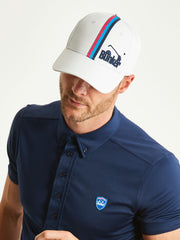 Bunker Mentality White Vertical Triple Stripe Tape Golf Snapback Peaked Cap with Branding Model Front
