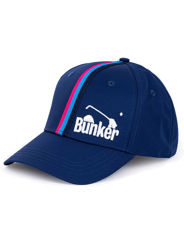 Bunker Mentality Navy Vertical Triple Stripe Tape Golf Snapback Peaked Cap with Branding - Front