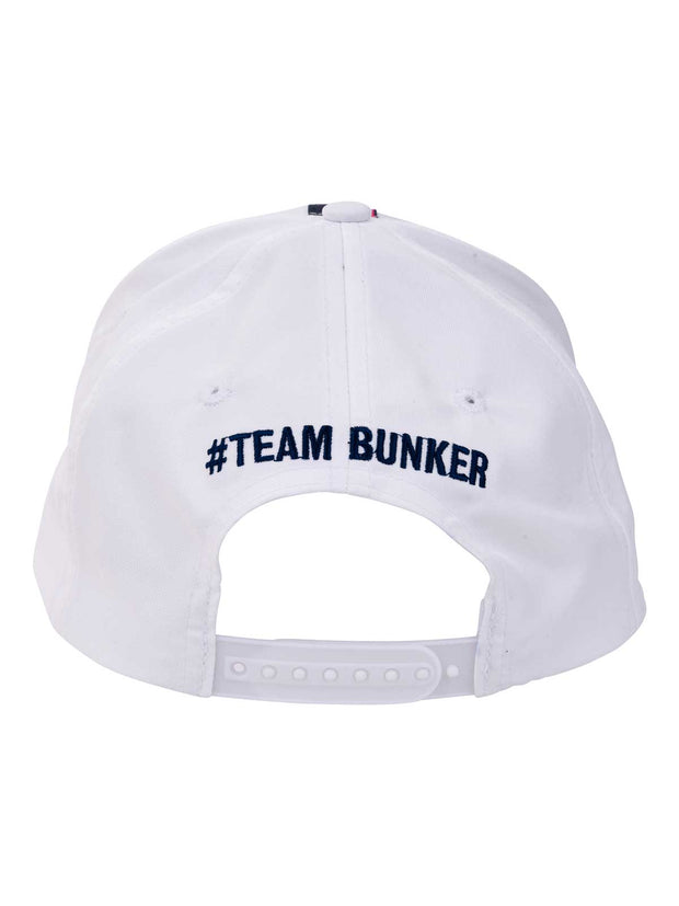 Bunker Mentality White Vertical Triple Stripe Tape Golf Snapback Peaked Cap - Back