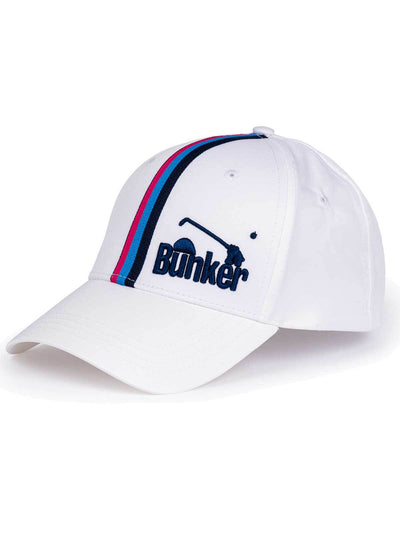 Bunker Mentality White Vertical Triple Stripe Tape Golf Snapback Peaked Cap with Branding - Front