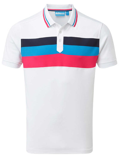 Cmax Triple Stripe Golf Polo Shirt - White