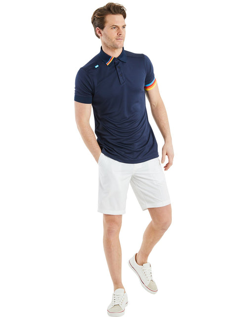 Bunker Mentality Kobi Navy Mens Golf Polo Shirt with Multi Colour Left Cuff and Detail on Collar - Model Wearing White Shorts
