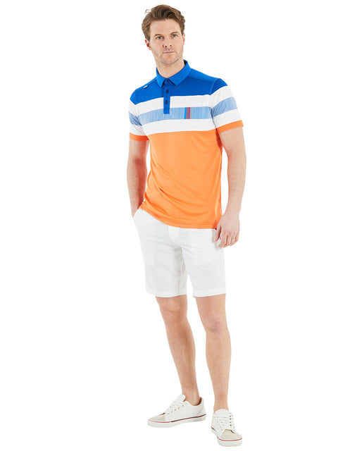 Bunker Mentality Switch Orange Stripe Mens Golf Shirt. Solid Orange Bottom half with White and Blue Stripes at top - Model in White Triple Stripe Shorts