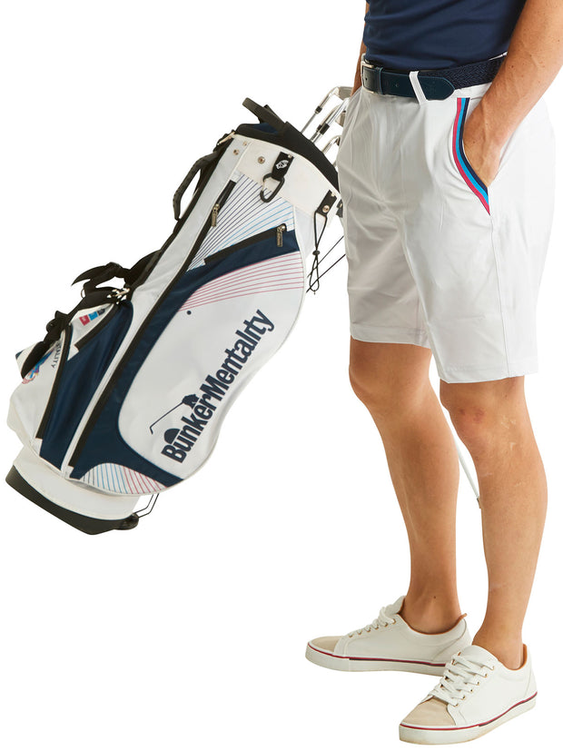 Bunker Mentality White Mens Golf Shorts with Signature taped pocket - Model