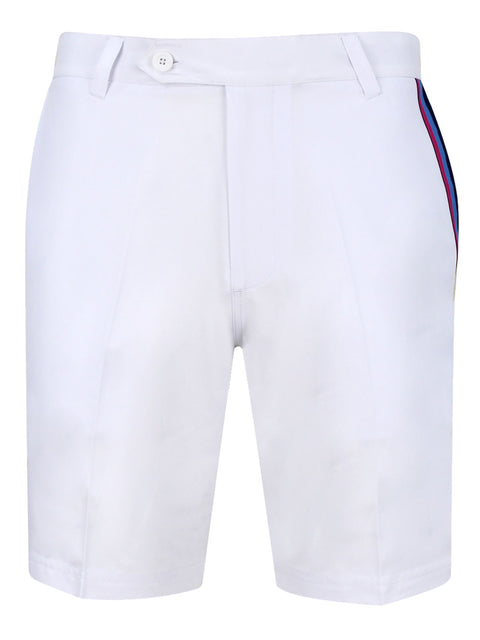 Bunker Mentality White Mens Golf Shorts with Signature triple taped pocket - Front