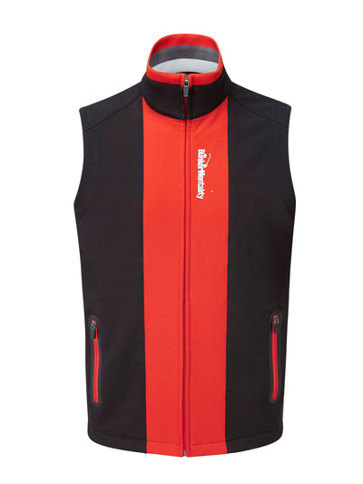 Bunker Mentality Elliot Black Red Mens Windproof Golf Vest Gilet - Front