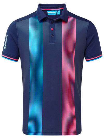 Cmax Vertical Pinstripe Golf Polo Shirt - Navy