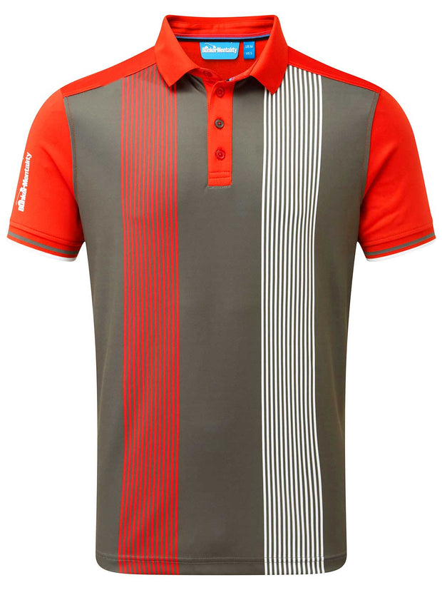 Cmax Vertical Pinstripe Golf Polo Shirt - Grey