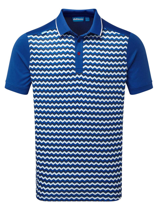 Bunker Mentality Cmax Zigzag Print Blue and White Mens Golf Polo Shirt - Front