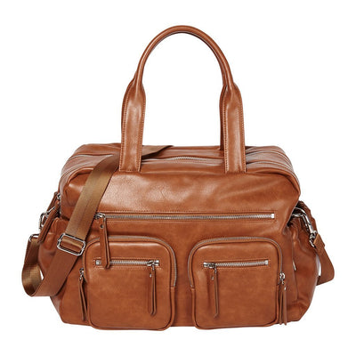 Faux Leather Carry All Nappy Bag - Tan (7052)