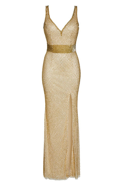 Beaded Mesh Gown Gold